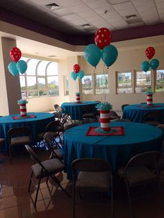 Cat In The Hat Birthday Party - Love the red and white polka dot balloons