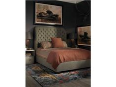 9521Q-PF - Cazenovia Bed. Fabric: Twister Earth with tufting on headboard. Finish: New Rich Walnut  #Bedroom #Furniture #GladhillFurniture