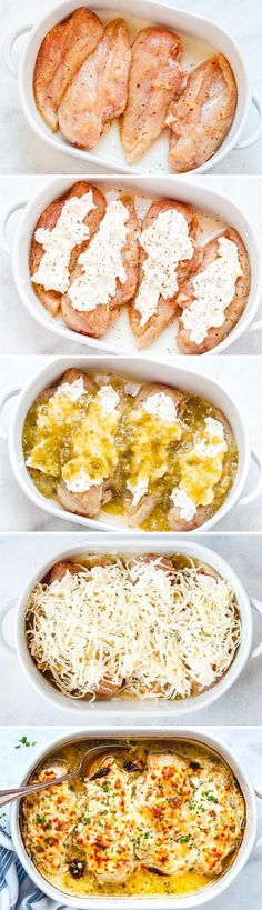 Salsa Verde Chicken Casserole with Cream Cheese and Mozzarella - Loaded with flavor and so comforting, it's seriously good chicken!