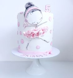 """Kinderparty - Ideas for """"Ballerina"""" - Decoration Solutions Ballet Birthday Cakes, Ballet Cakes, Ballerina Birthday Parties, Ballerina Cakes, Birthday Cake Girls, Cupcakes Design, Girly Cakes, Cute Cakes, Fete Marie"""