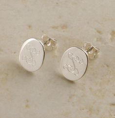 Great gift for any girl that loves monograms..Monogrammed Small Sterling Silver Oval Post Earrings-$29
