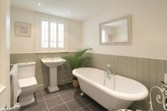 Check out this property for sale on Rightmove! Bathroom Paneling, Bathroom Interior, Downstairs Bathroom, Small Bathroom, Traditional Bathroom Inspiration, Cottage Showers, Small Toilet Room, Bathroom Colors, Bathroom Ideas
