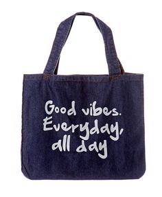 Letter Print Shoulder Bag Denim with positive quote :) Shop here for 8.1% cash back and coupon: https://www.saveandearn.com/shop_store.asp?id=1535