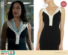 Jessica's black and white v-neck dress on Suits. Outfit Details: http://wornontv.net/19196