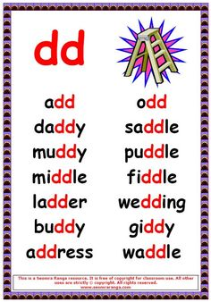 Phonics poster to show words with a double d in the middle. Phonics Chart, Phonics Rules, Jolly Phonics, Phonics Worksheets, Phonics Activities, Phonics Reading, Teaching Phonics, Teaching Reading, English Phonics