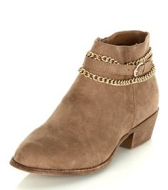 Wide Fit Light Brown Chain Trim Ankle Boots