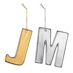 """Metallic Initial Ornament 