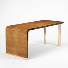 Eugenio Quarti, Maple Burl & Copperplate desk, c1929.