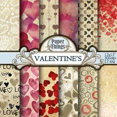 Valentine Digital Paper Backgrounds Hearts Pattern Instant Download Digital Paper Pack 12 Printable Patterns Instant Download codA12
