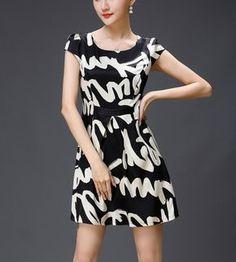 High-Grade Short-Sleeved Silk Dress Printed Silk Satin Skirt Tide