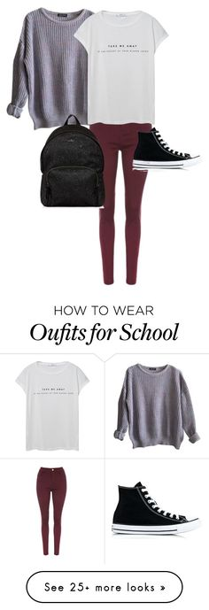 """""""Day-school day"""" by aysiaismej on Polyvore featuring American Apparel, MANGO, Hogan and Converse"""