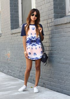 Pair a dress with Converse sneakers for a casual and comfortable look. #fashion #sincerelyjules