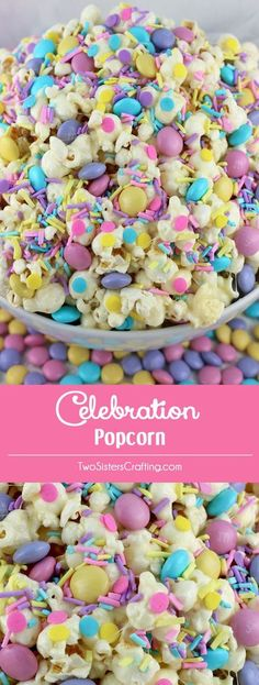 Celebration Popcorn is a colorful and yummy popcorn dessert - the perfect combination of sweet, salty and crunchy in a single bowl. Love this for an Easter celebration!
