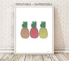 cuadro piña, ilustracion piña, lamina piña, lamina frutas, cuadro frutas, decoracion cocina, laminas A4, laminas A3, laminas imprimibles
