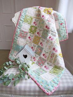 Helen Philipps: Little Cherries Quilt Cot Quilt, Lap Quilts, Star Patterns, Quilt Patterns, Pencil Case Tutorial, Green Rabbit, Ticking Fabric, Little Fish, Embroidery Applique