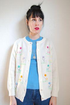 vintage 1960s / cream / knit cardigan / mod / embroidery / flowers / S-M. $12.00, via Etsy.
