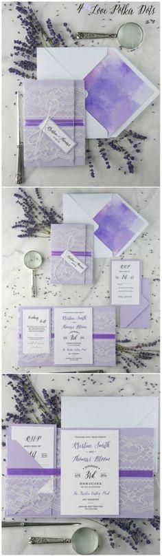Lavender Ombre lace wedding invitation #wedding #weddingideas #lace #ombre #lavender #lilac #pastel