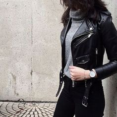 VISIT FOR MORE Nice 41 Trending Black Leather Women Jacket Outfits Ideas Suitable For Fall.c The post Nice 41 Trending Black Leather Women Jacket Outfits Ideas Suitable For Fall. Mor appeared first on Outfits. Mode Outfits, Casual Outfits, Fashion Outfits, Black Outfits, Winter Outfits, Womens Fashion, Edgy Fall Outfits, Fashion Clothes, Casual Dresses