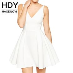 Find More Dresses Information about HDY Haoduoyi 2016 Autumn Women Fashion Solid White Sexy Plunge Neck Backless Mini Dress Sleeveless Casual Ruched A line Dress,High Quality dress up girls dresses,China dress names Suppliers, Cheap dress sweetheart from NEW FASHIONS on Aliexpress.com