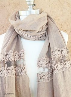 Beige Lace Scarf / Beige Shawl with Lace / Spring by PyEJewelry Simple Pakistani Dresses, Pakistani Dress Design, Diy Scarf, Lace Scarf, Fashion Design Template, Denim Crop Top, Hijab Style, Stylish Dress Designs, Embroidery Suits