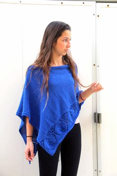 Blue  Poncho Knit Lace Shawl Hand Knit Wrap knitted by ettygeller, $57.00