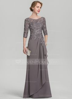A-Line Princess Scoop Neck Floor-Length Chiffon Lace Mother of the Bride Dress With Cascading Ruffles 008131932 - Mother of the Bride Dresses - JJ s House Mother Of The Bride Gown, Mother Of Groom Dresses, Mothers Dresses, Mother Of The Bride Hair Short, Long Mothers Dress, Bride Groom Dress, Vestidos Fashion, Fashion Dresses, Brides Mom Dress