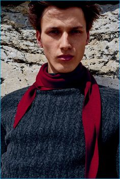 Luca Stascheit is front and center in a Hermès scarf for the fashion house's fall-winter 2016 Cravates lookbook.