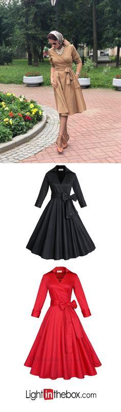 Women s Bow Plus Size Party Vintage A Line Dress - Solid Colored Bow Shirt  Collar Cotton Black Red Khaki XL XXL XXXL 44da2013b906