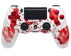 Bloody hands controller for Playstation: ModdedZone introducing Custom PS4 Controller with amazing design, custom mixed paints and crystal finishes.