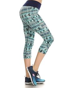 Look what I found on #zulily! Turquoise, White & Navy Geometric Capri Leggings by Elegant Apparel #zulilyfinds