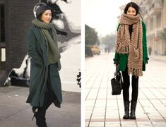Style Trends: Chunky Knit Scarves | http://sheepandstitch.com/style-trends-chunky-knit-scarves/