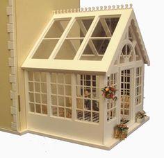 Dolls House Miniature Conservatory - Over 10,000 other miniature dollshouse items in stock! Visit www.thedollshousestore.co.uk
