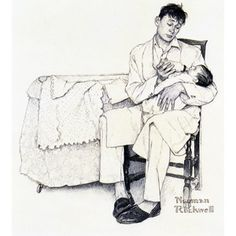 'Daddy' - Norman Rockwell's famous renditions of family life in 20th-century.-