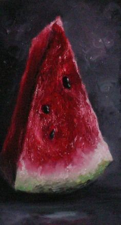 Watermelon Still Life Painting by annahaener