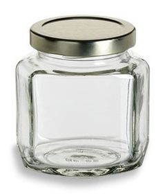Specialty Bottle - 6 oz (190 ml) Oval Hexagon Glass Jar with Gold Lid, $1.08 (http://www.specialtybottle.com/glass-jars/oval-hexagon/6oz-ohx6)