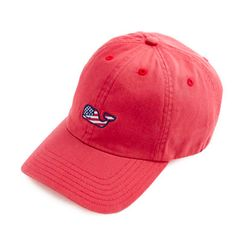 Vineyard Vines Signature FLAG Whale Logo Baseball Hat- Jetty Red from Shop Southern Roots TX