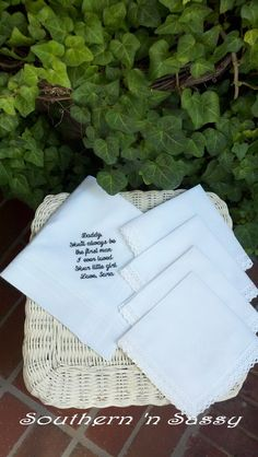 Set Of 5 Custom Embroidery Country Manor Lace Wedding Handkerchief by southernnsassy, $80.00
