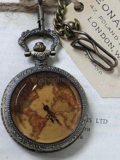 Vintage Bronze Fob Pocket WATCH - Vintage map - Bevelled Amber glass front STEAM Vintage Pocket Watch, Amber Glass, Steampunk Fashion, Bronze, Map, Watches, Accessories, Style, Swag