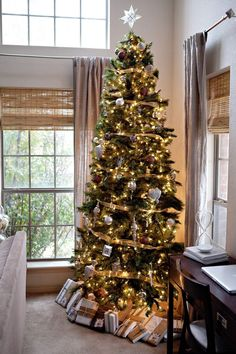 This could be our house at Christmas.  I like the tree, and the window treatments:)
