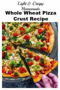 This easy homemade Whole Wheat Pizza Crust has a light and crunchy texture. Double this recipe and freeze some for later use. Add toppings of your choice. Vegetarian Recipes Dinner, Delicious Vegan Recipes, Vegan Vegetarian, Vegan Food, Whole Wheat Pizza Crust Recipe, Kids Cooking Recipes, Pizza Recipes, Veg Pizza, Artisan Bread Recipes