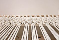 Make Your Own Macrame Curtain - A Beautiful Mess Macrame Projects, Diy Craft Projects, Fun Crafts, Diy And Crafts, Arts And Crafts, Valance Patterns, Macrame Patterns, Macrame Knots, Micro Macrame