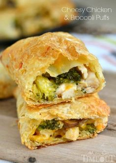 Cheesy Chicken and Broccoli Puffs are made with rotisserie chicken and puff pastry. Delightfully easy to make and are a cheesy favorite with the family!