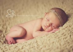 Newborn Baby Photo Prop Tan Crochet Halo Headband by ChicPretties