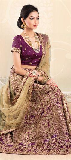 If you like PURPLE: Order this bridal #lehenga at flat 10% off  #IndianWedding #IndianFashion #Partywear #embroidery