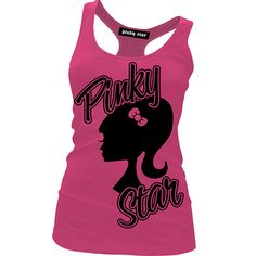 """Women's """"Silhouette"""" Racerback Tank by Pinky Star (Pink) #InkedShop #silhouette #pink #barbie #tank #top #style #fashion"""