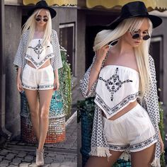 Get this look: http://lb.nu/look/7829344  More looks by Oksana Orehhova: http://lb.nu/oksiger  Items in this look:  Cndirect Set (Top And Shorts), Cndirect Kimono, Freyrs Sunglasses   #bohemian #casual #street