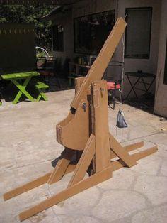 Build a trebuchet out of cardboard.