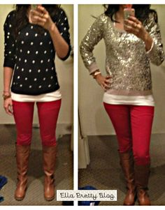 Ella Pretty: Holiday Party Outfits, Red Skinnies & More Bubble Necklaces