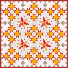 Dancing Leaves by Ann Weber, used in a quilt setting. This block appears in Quiltmaker's 100 Blocks Volume 6, available by Nov. 13. Ongoing blog tour giveaways: http://www.quiltmaker.com/blogs/quiltypleasures/