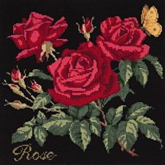 Rose Needlepoint Kit by Elizabeth Bradley. A premium English needlepoint pillow project on a Winter White background with wool yarns. Cross Stitch Rose, Cross Stitch Flowers, Cross Stitch Kits, Cross Stitch Charts, Cross Stitch Designs, Cross Stitch Patterns, Needlepoint Pillows, Needlepoint Stitches, Needlepoint Kits
